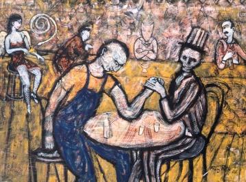 Abend in einer Bar / Soirée dans un bar. Gouache et encre de chine sur papier Kraft. 70x90cm