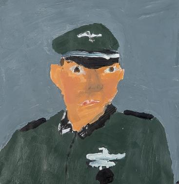 Un officier allemand. Antoine L. 45x45cm. Acrylique sur papier