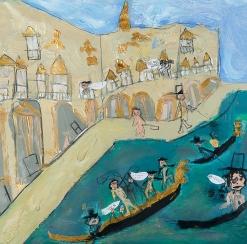 Attaque sur les amoureux à Venise. Antoine L. 65x50cm. Acrylique sur papier