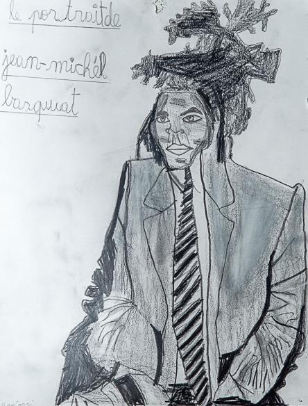 Jean Michel Basquiat. Grégori A. 30x21cm. Crayon sur papier.